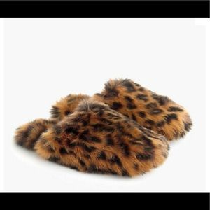 NWT J Crew Leopard Fuzzy Slippers MED (9-10)